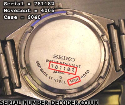 Vintage seiko wristwatch back containing serial number and caliber.